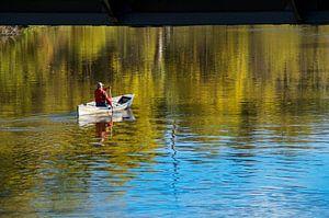 Eenzame roeier op de rivier