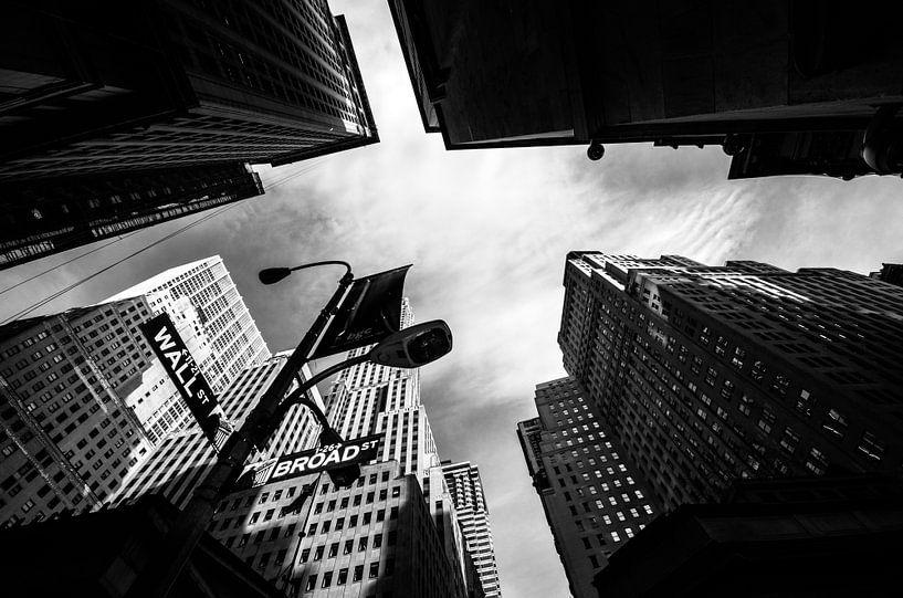 Wallstreet New York zwart wit van Lex Scholten