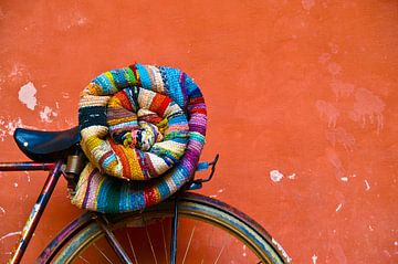 Fahrrad mit bunter Wolldecke von Nico van der Vorm