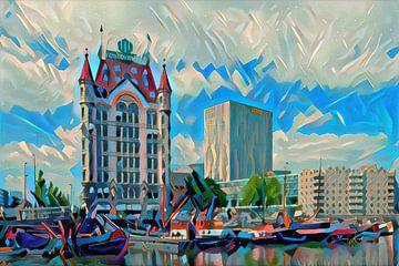 Modern schilderij van Witte Huis Rotterdam van Slimme Kunst.nl
