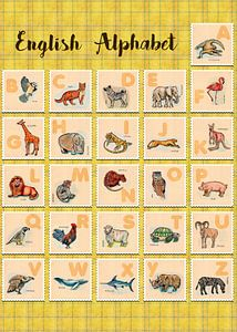 hand drawn animals poster for all English letters