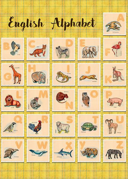 hand drawn animals poster for all English letters sur Ariadna de Raadt-Goldberg