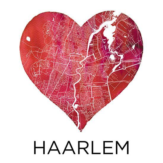 Liefde voor Haarlem  |  Stadskaart in een hart