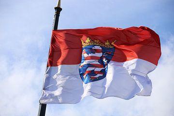 Vlag van Hessen in de hoofdstad van de deelstaat Wiesbaden van Udo Herrmann