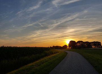Sonnenuntergang auf dem Land von Keline van Dijk