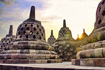 Stupa's op de Borobudur van Eduard Lamping