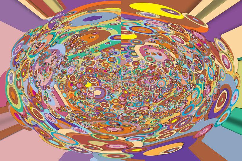 Abstrakte Arbeit mit Kreisen 'Herbst'. von Ton Kuijpers