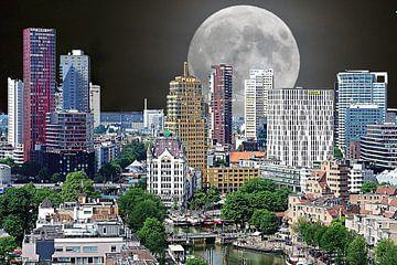 Rotterdam avec une super lune (médias mixtes) sur Art by Jeronimo