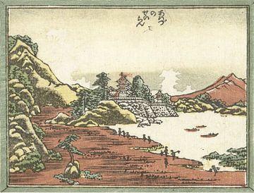 Opklaring na een storm te Awazu van Katsushika Hokusai, 1809 - 1814