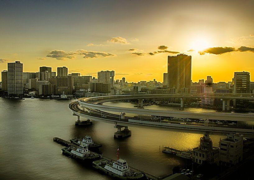 Zonsopkomst over Tokio, Japan van Sandra Kuijpers