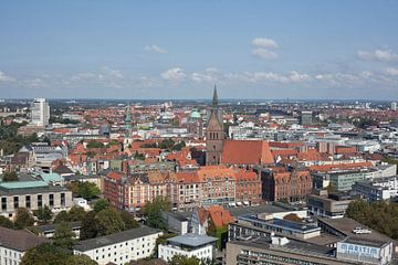 Stadscentrum met marktkerk, uitzicht vanaf de toren van het stadhuis, Hannover, Nedersaksen, Duitsla van Torsten Krüger