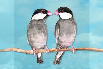 Twee kussende rijstvogels van Bianca Wisseloo