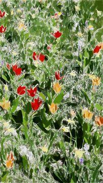 Fleurig Kleurige Bloemen in het Groene Gras - II - Schilderij
