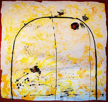 Zwarte boog op geel van Klaus Heidecker