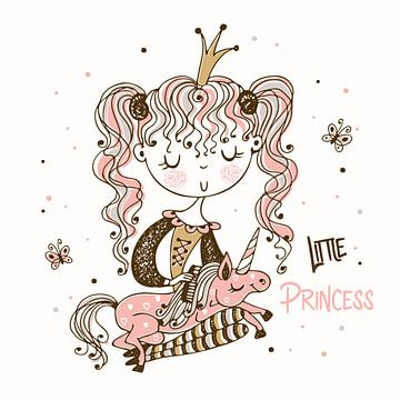 Kleine prinses met een eenhoorn van Atelier Liesjes