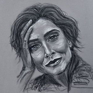 Porträt einer Frau, die sich auf ihre Hand stützt; Pastellzeichnung