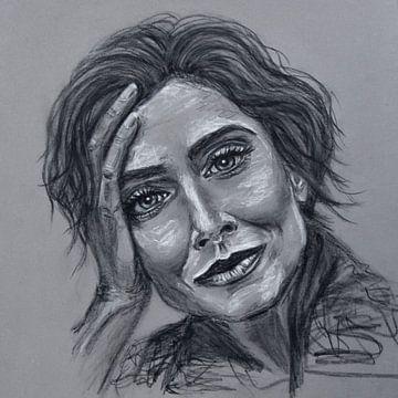 Porträt einer Frau, die sich auf ihre Hand stützt; Pastellzeichnung von Bianca ter Riet