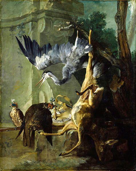 Der Beutel - ein toter Hirsch, zwei Falken und ein Reiher, Jean-Baptiste Oudry von Meesterlijcke Meesters