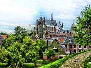 De Hooglandse kerk, gezien vanaf de Burcht in Leiden van