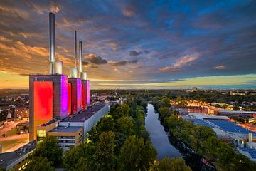 Zonsondergang skyline van Hannover van Michael Abid