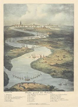 Loop van de Schelde van Fort Bath tot Antwerpen, 1832, J.B. Clermans