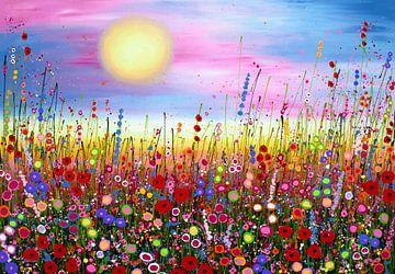 Schilderij bloemenveld sur