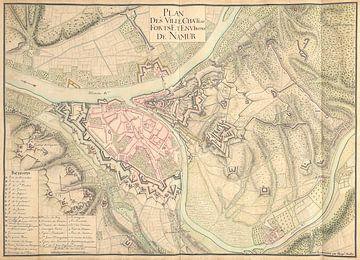 Oude kaart van de stad Namen van omstreeks 1710. van Gert Hilbink