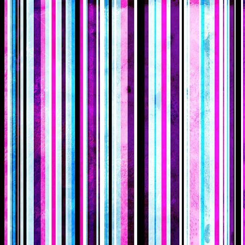 Striped art pink purple aqua van