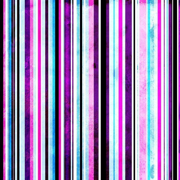 Striped art pink purple aqua van Patricia Verbruggen