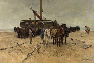 Bomschuit op het strand, Anton Mauve