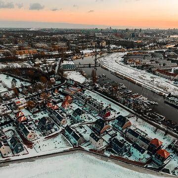 Kleiner Kadoelen & Kanal bei Sonnenuntergang von Mike Helsloot