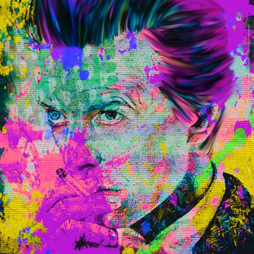 David Bowie Yellow Colourful Pop Art PUR