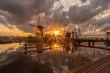 Mühlen Kinderdijk - Sonnenuntergang von Fotografie Ploeg