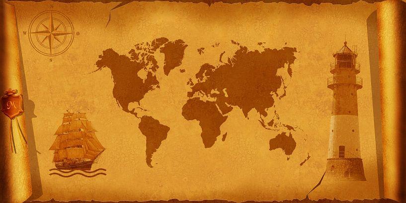 Carte du monde nostalgique sur Monika Jüngling