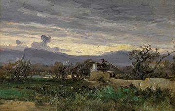 Carlos de Haes-Een uitzicht op een gebroken huis in het bos, Antiek landschap
