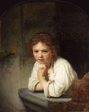 Mädchen im Fenster - Rembrandt van Rijn von Marieke de Koning