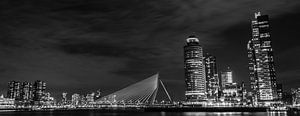 Kop van Zuid & Erasmusburg panorama in zwart wit van