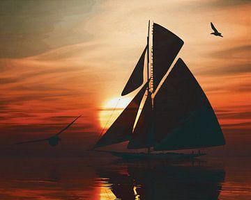 Zeilboot bij zonsondergang 3