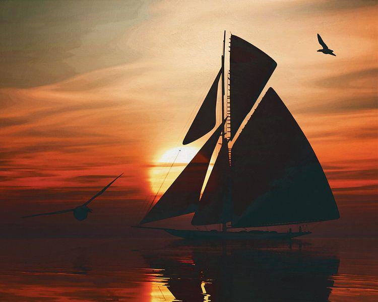 Zeilboot bij zonsondergang 3 van Jan Keteleer