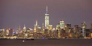 Manhattan Skyline in New York in de avond gezien vanaf Staten Island, panorama