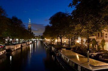 Prinsengracht met Westertoren, blauw uurtje sur Pierre Timmermans