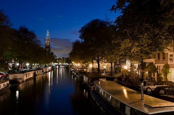 Prinsengracht met Westertoren, blauw uurtje