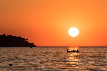 Sunset on Lesbos sur Rinus Lasschuyt Fotografie