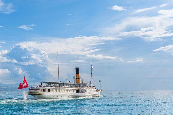 La Suisse steamboat cruise the Leman lake (Switzerland).