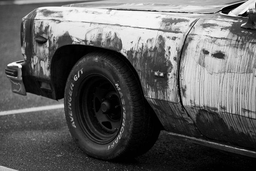Cadillac zwart wit van Jan Pott