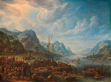 Blick auf einen Fluss mit Bootsanlegestellen, Herman Saftleven