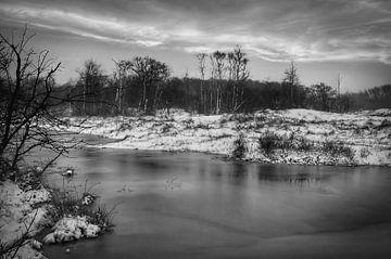 Schnee Landschaft Natur schwarz und weiß von Marjolein van Middelkoop