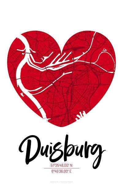Duisburg – City Map Design Stadtplan Karte (Herz) von ViaMapia