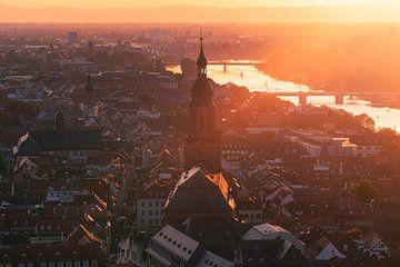 Heidelberg Coucher de soleil au centre ville sur