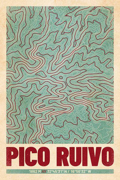 Pico Ruivo | Landkarte Topografie (Retro) von ViaMapia